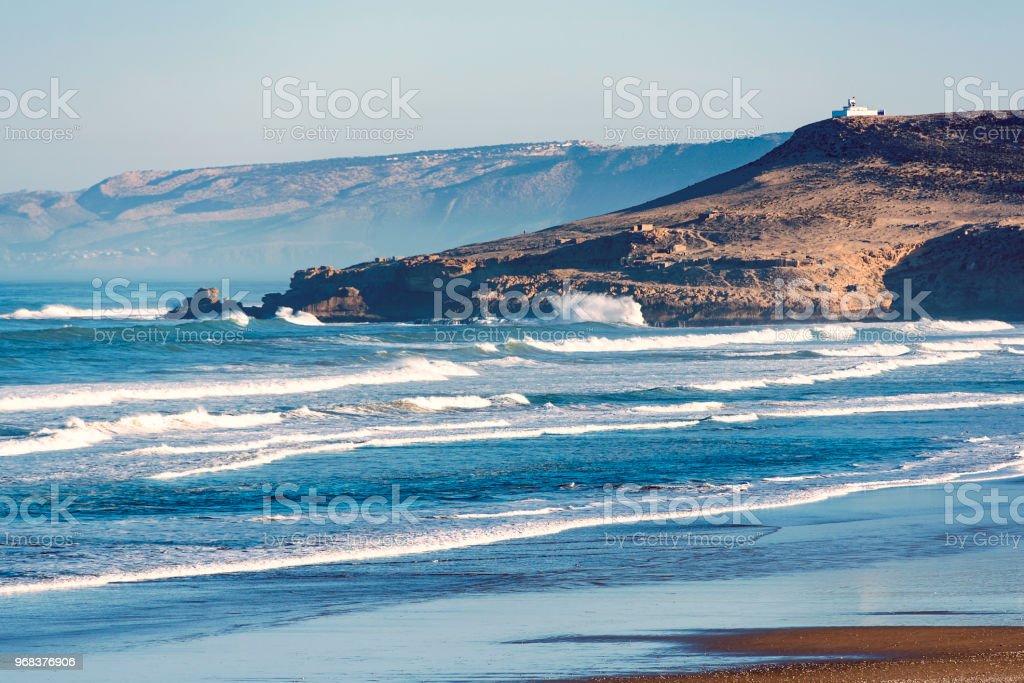 Coastline of Atlantic Ocean in Morocco Morning over Sea