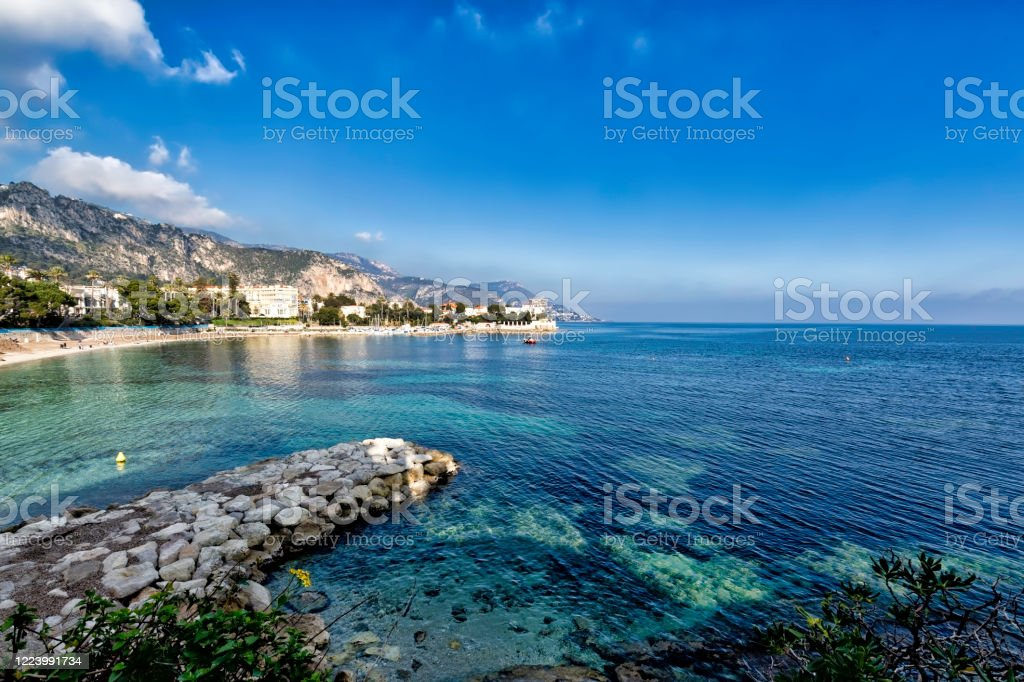 coastline of Beaulieu-sur-Mer, French Riviera - Royalty-free Bay of Water Stock Photo