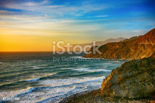 The beautiful and unique coastline of central California near Big Sur along US 1 at dusk.