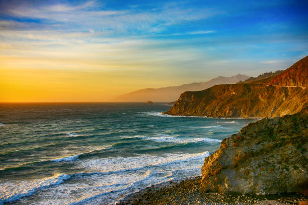 Coastline of Central California at Dusk stock photo