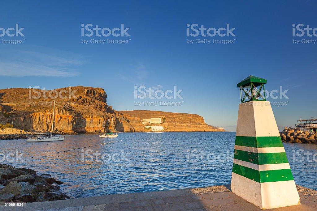 Coastline of Gran Canaria island at sunset, Spain stock photo