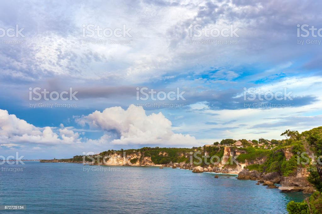 Coastline of Jimbaran, South Kuta, Bali, Indonesia. stock photo
