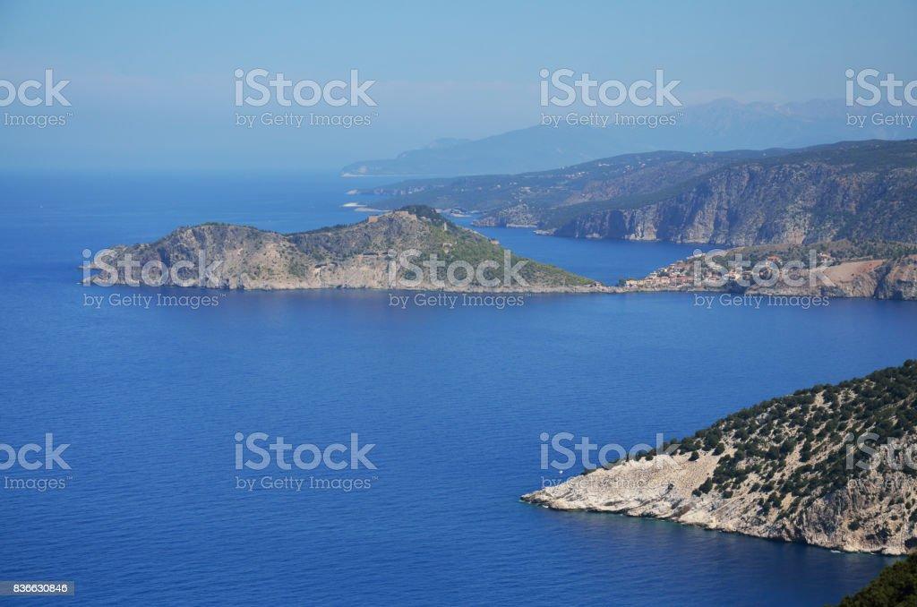 Coastline of Kefalonia and view of  Assos peninsula stock photo