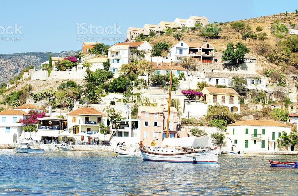 coastline of Kefalonia, village Assos stock photo