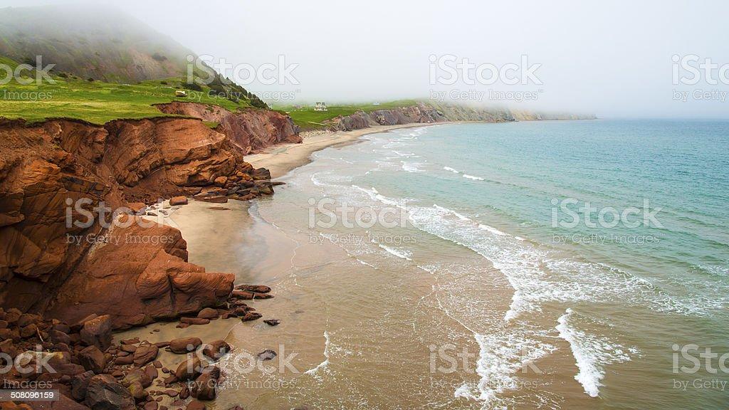 Coastline of Magdalen Islands, Quebec, Canada. stock photo
