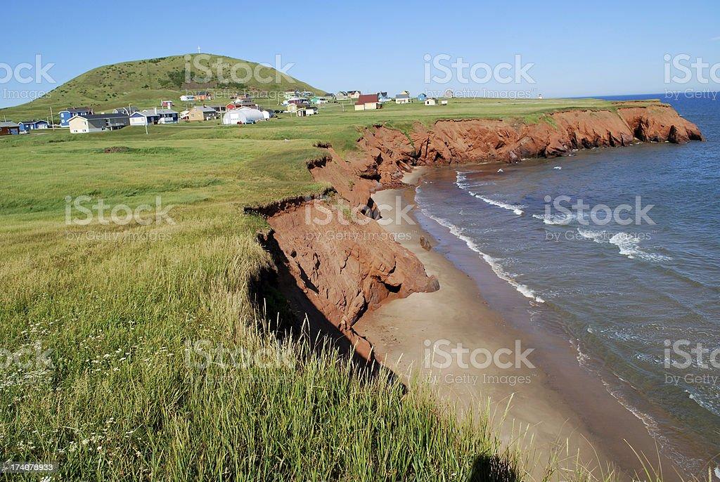 Coastline of Magdalen Islands, Quebec. stock photo