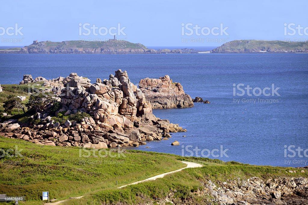 Coastline of Ploumanac'h in France stock photo
