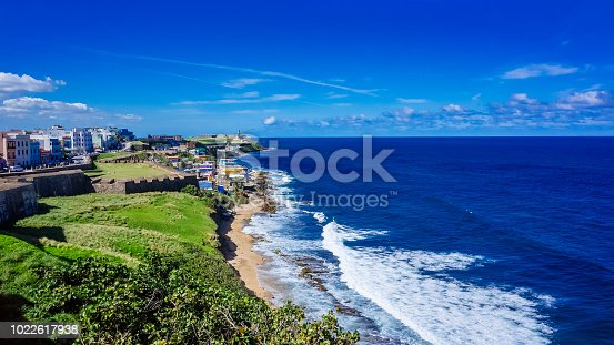 Panoramic View of the Coastline of Puerto Rico with Houses of Old San Juan and the Caribbean Sea