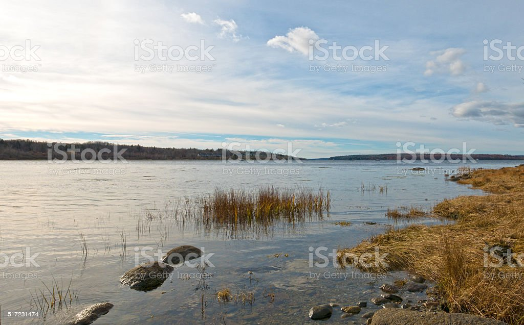 Coastline of Stockton Springs Maine stock photo