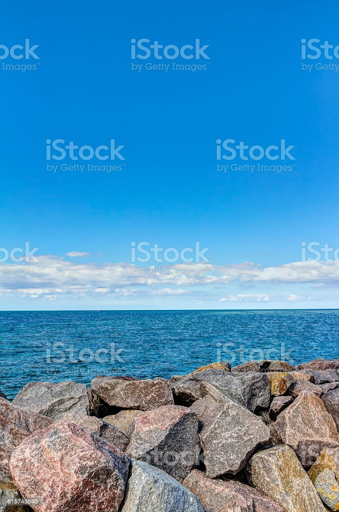 Coastline of the Baltic Sea in summer stock photo