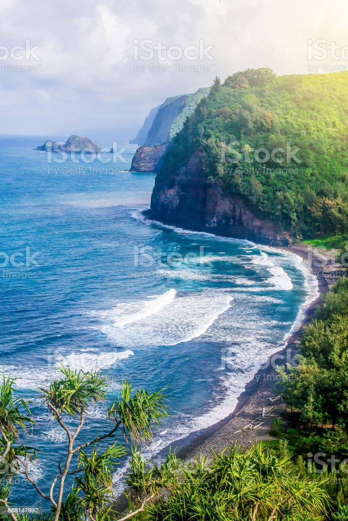 Coastline of the Hawaiian island, rock, ocean stock photo