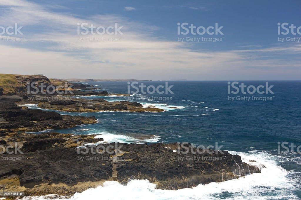 Coastline of the Nobbies in Philip Island stock photo