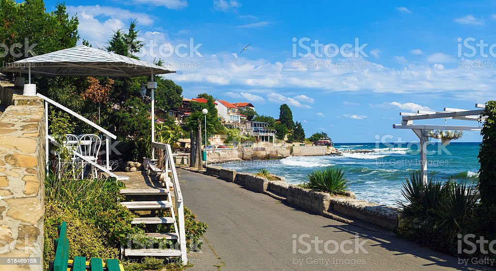 Coastline of the old town of Nessebar stock photo