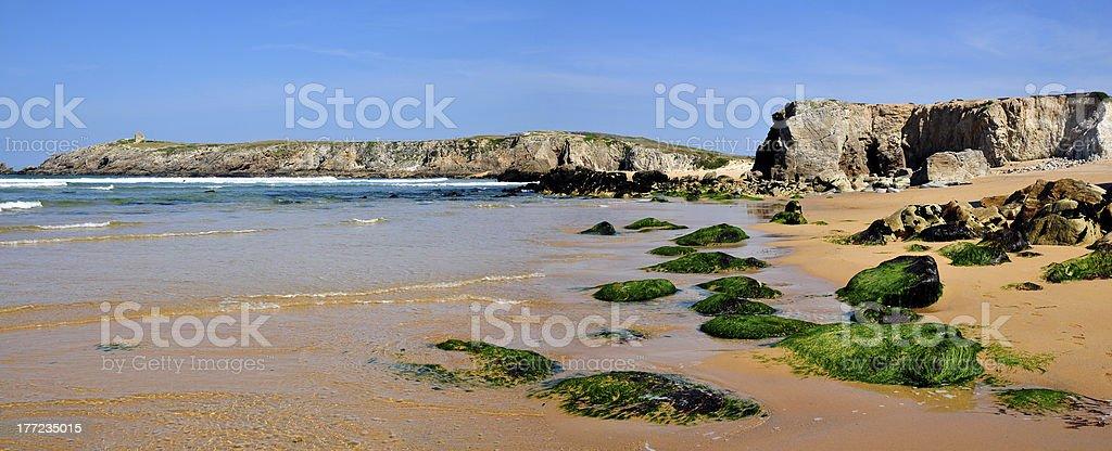 Coastline of the Quiberon in France stock photo