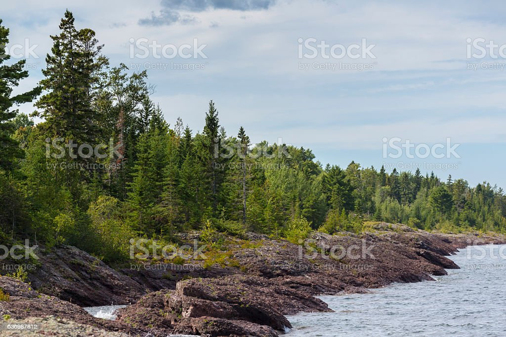 Coastline of the UP of Michigan stock photo