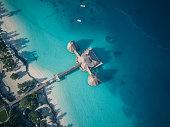 Aerial view over the coastline of Zanzibar