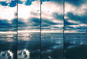 Reflections in the sand by the sea, Lomography 35mm supersampler