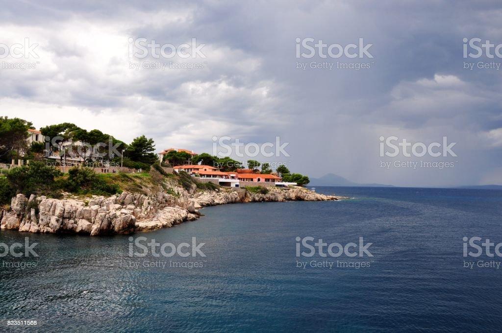 Coastline on Losinj and Cres stock photo