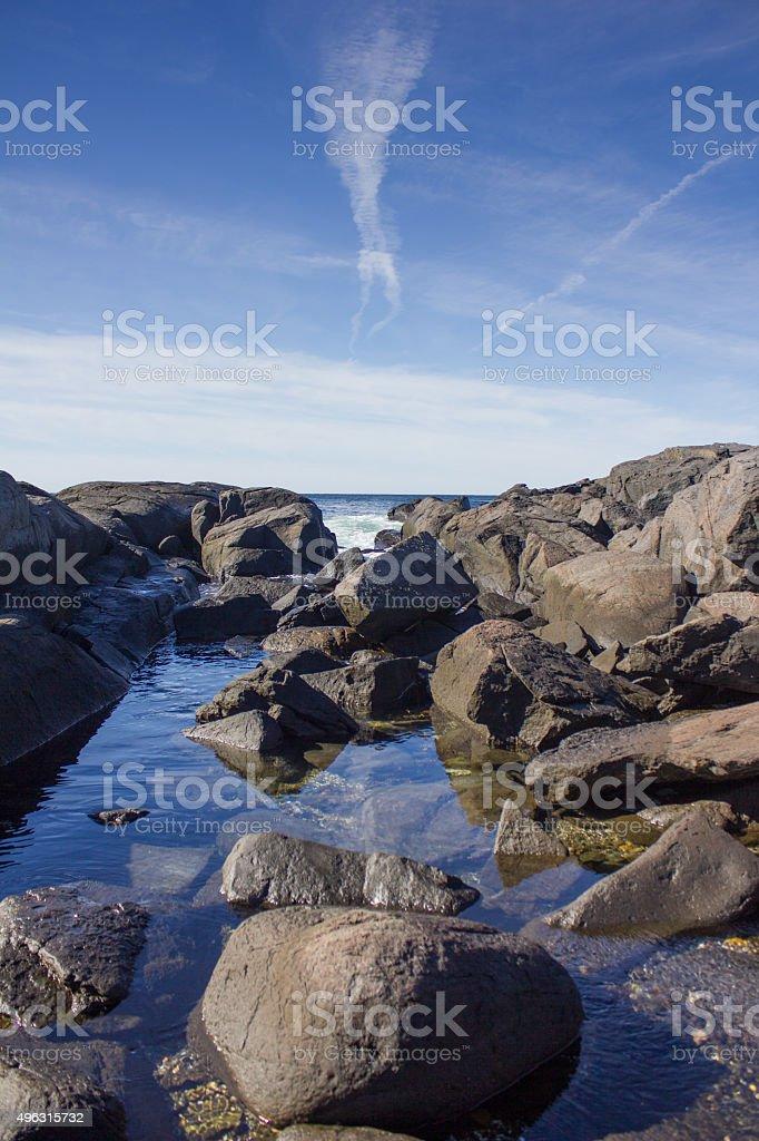 Coastline on Monhegan Island, Maine stock photo