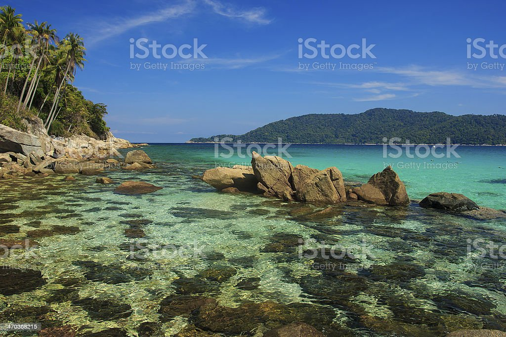 Coastline on Perhentian Island stock photo