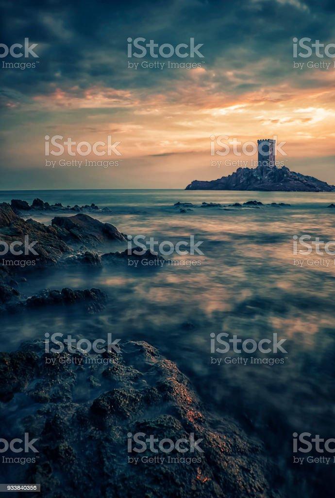 Coastline on the French Riviera stock photo