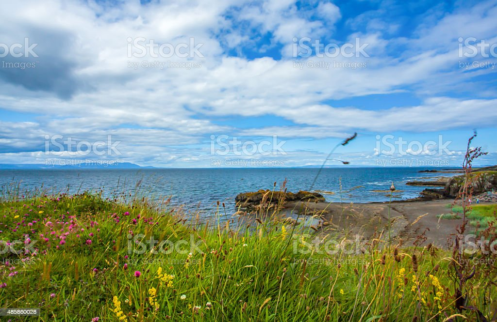 Coastline on the grounds of Dunure Castle stock photo