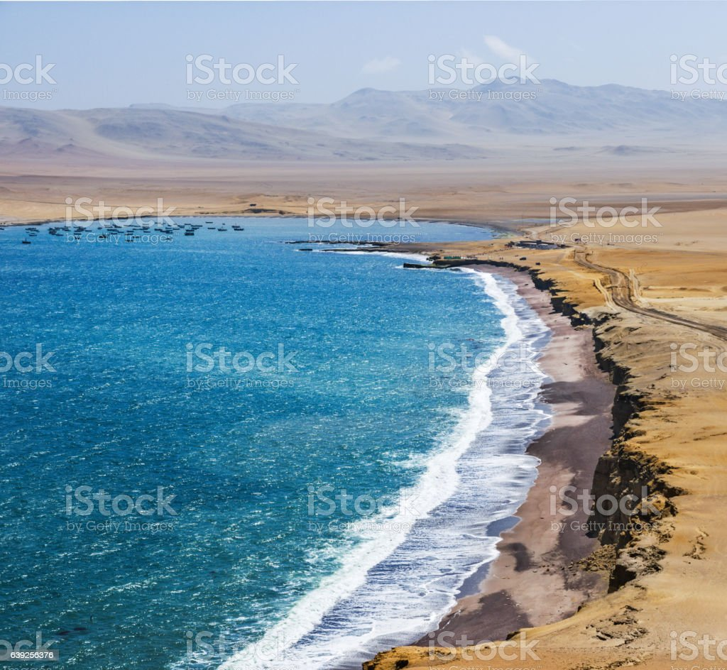 Coastline, Paracas National Reserve, Ica Region, Peru. Paracas desert. stock photo