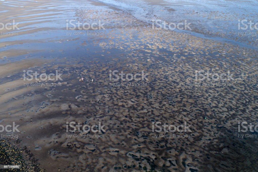 Coastline, tideland, mudflat - aerial view stock photo