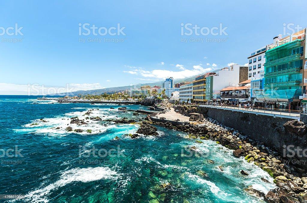 Coastline view in Puerto de La Cruz stock photo