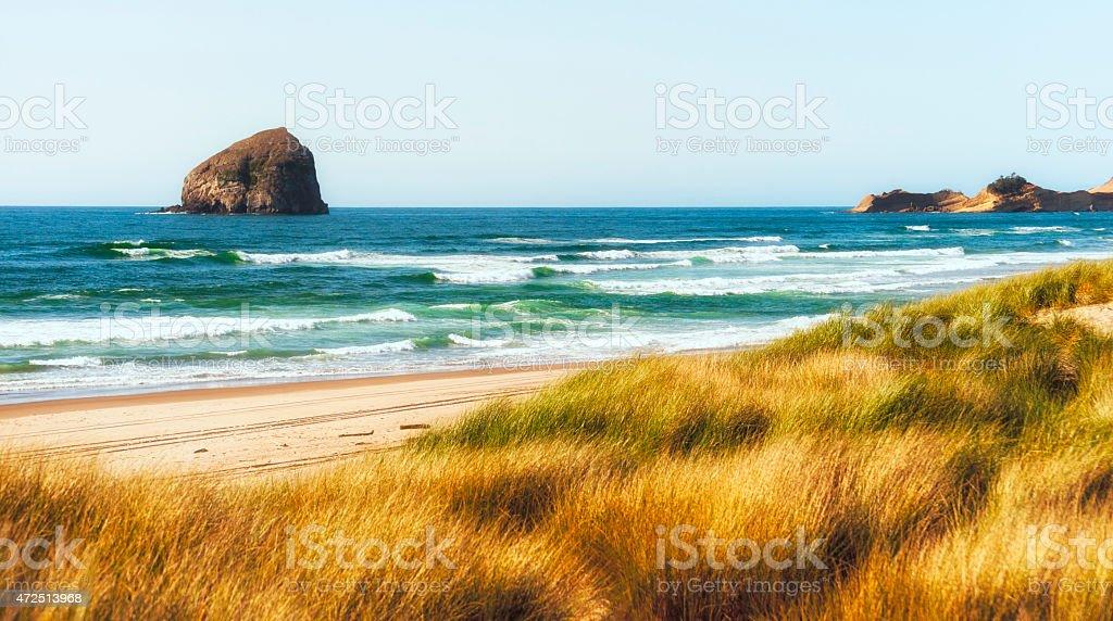 Coastline view of Cape Kiwanda stock photo