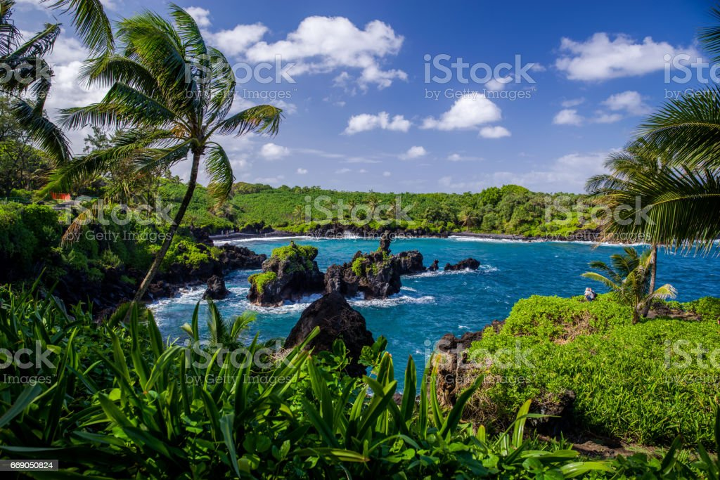 coastline, waianapanapa state park, maui stock photo