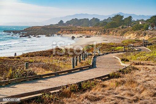 Landscape stock photograph of coastline with boardwalk at Moonstone Beach in Cambria, California, USA