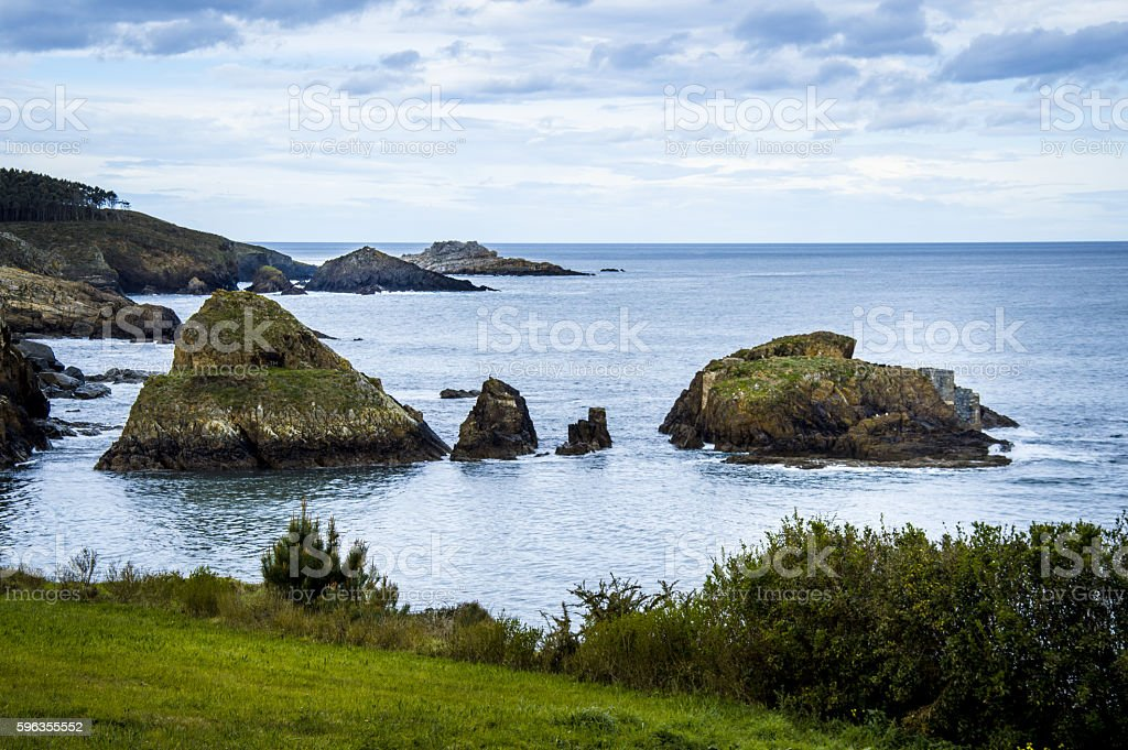 Coastline with cliffs and rocks in Asturias, Spain royalty-free stock photo