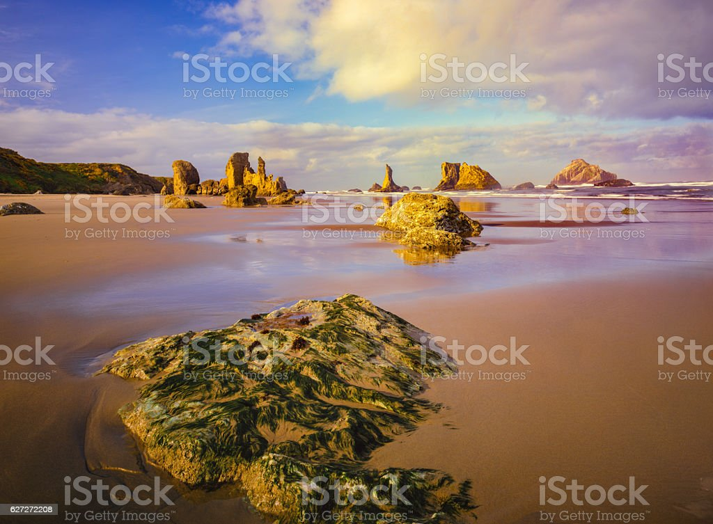 Coastline with sea stacks and surf at Bandon Beach, Oregon stock photo