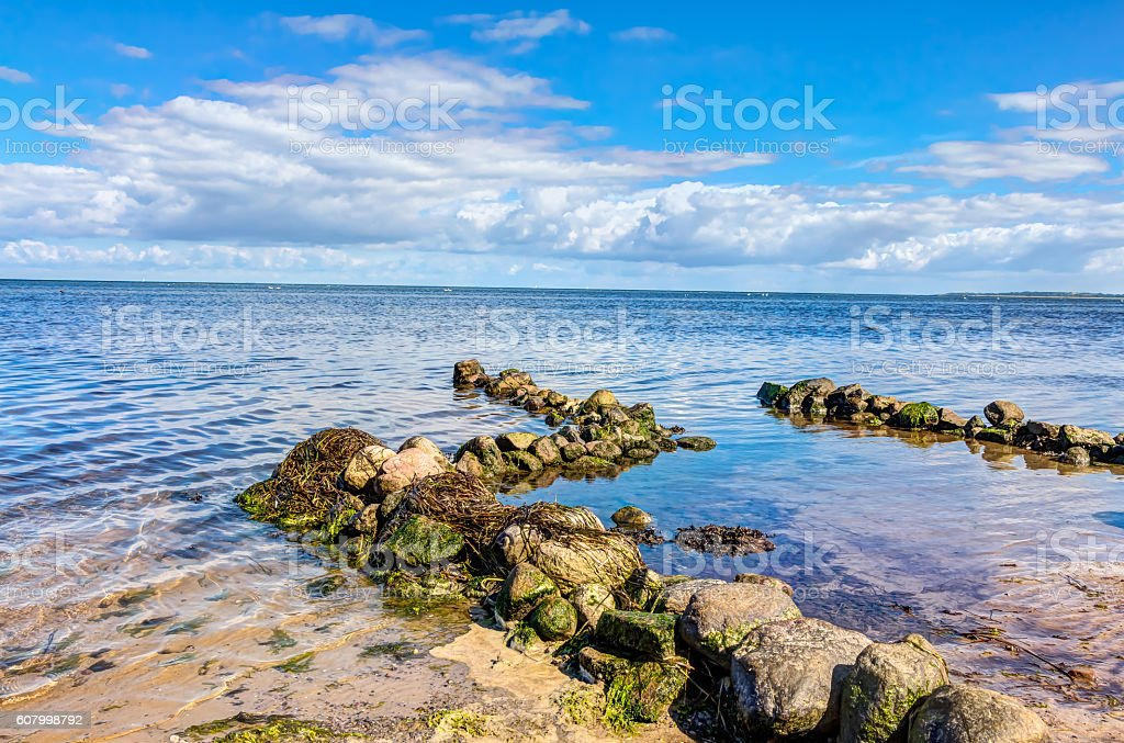 Coastline with stones stock photo