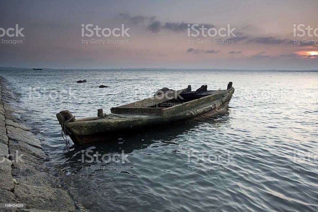 Coast's skyline ship royalty-free stock photo
