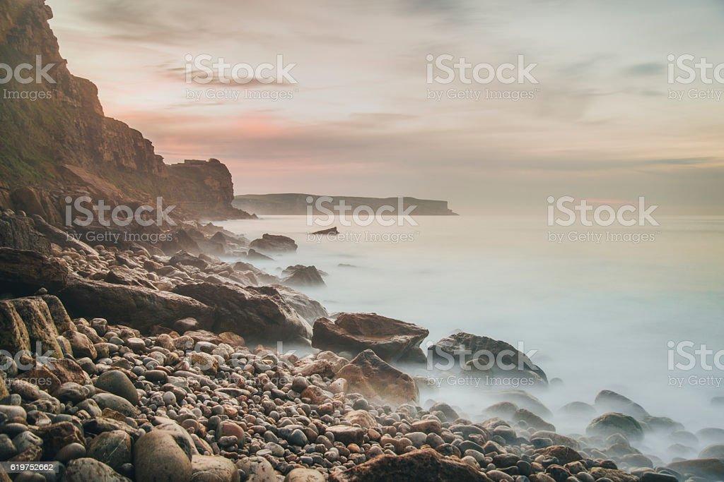 Coastside at sunset stock photo