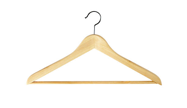 Coat Hanger + Outline Paths Light wood coat hanger isolated on white. File contains OUTLINE PATHS for easy editing. coathanger stock pictures, royalty-free photos & images