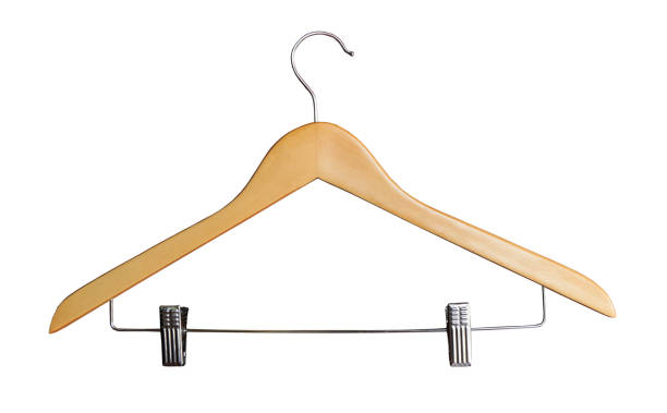 coat hanger Wooden coat hanger isolated on white background coathanger stock pictures, royalty-free photos & images