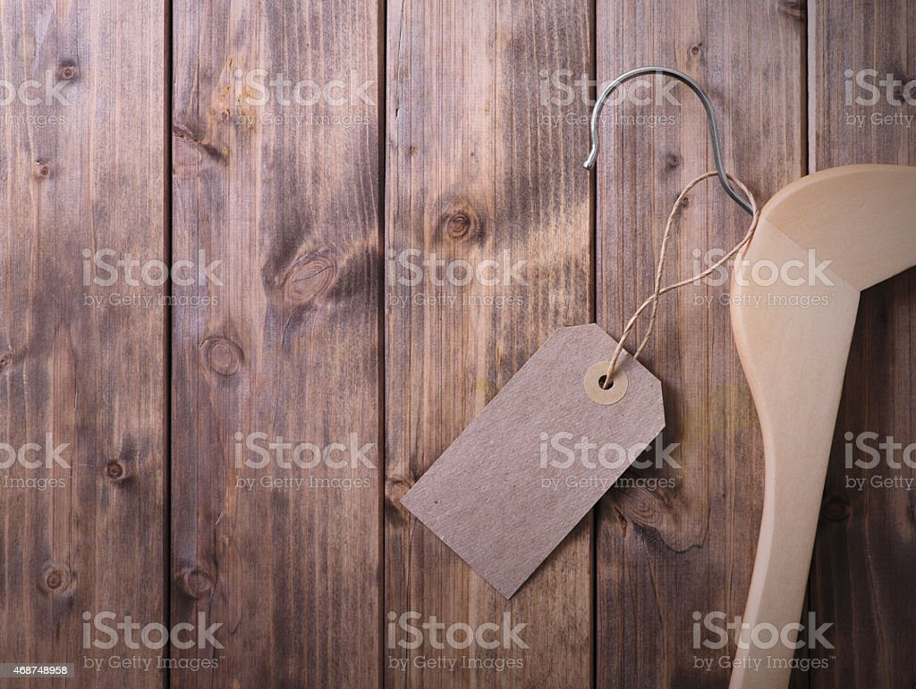 coat hanger with blank tag stock photo