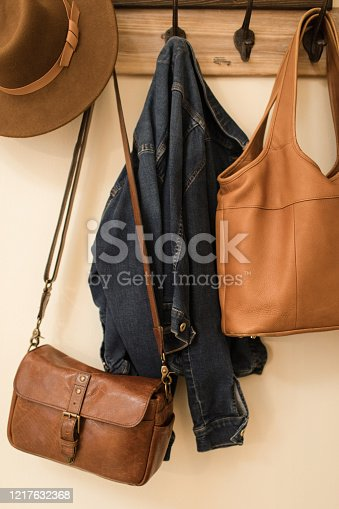 Coat Hooks with Purses, Jacket & Hat. A brown hat, two brown leather bags, and a jacket on a vintage coat hook in a rustic modern home in South Florida. Warm and cozy home during the Covid-19 pandemic of 2020.