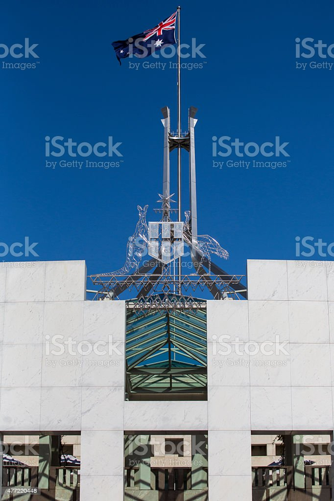 Coat of Arms and Flag Pole, Australian Parliament stock photo
