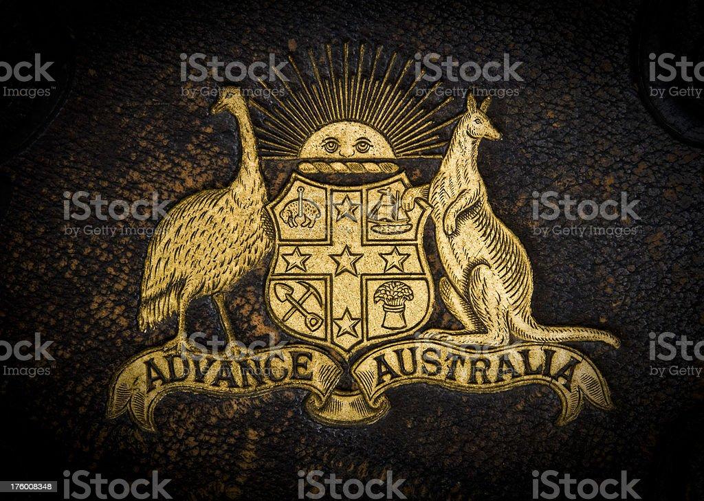 Coat of arms Australia insignia emblem gold leather stock photo