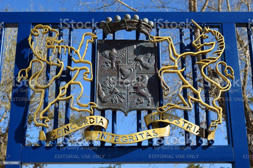 Brasão de armas concedido para os barões Rothschild pelo imperador Francisco I da Áustria - foto de acervo