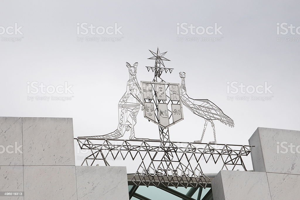 Coat of arms in Canberra stock photo