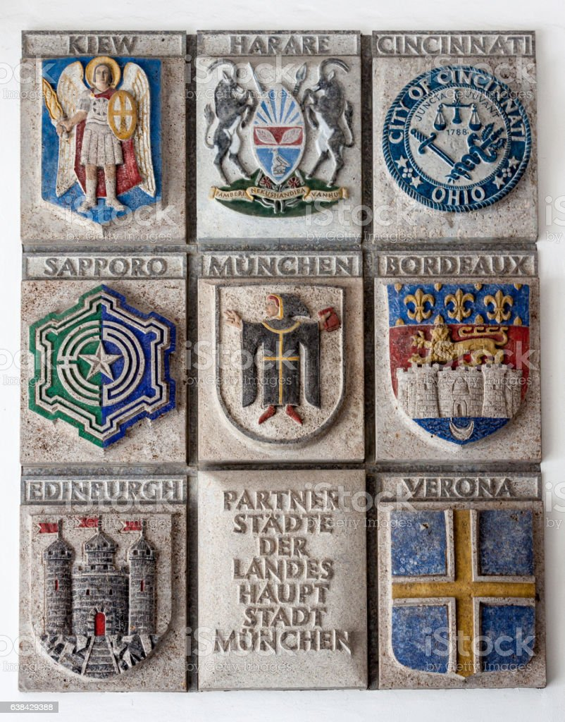 Coat of Arms in New Town Hall Munich stock photo