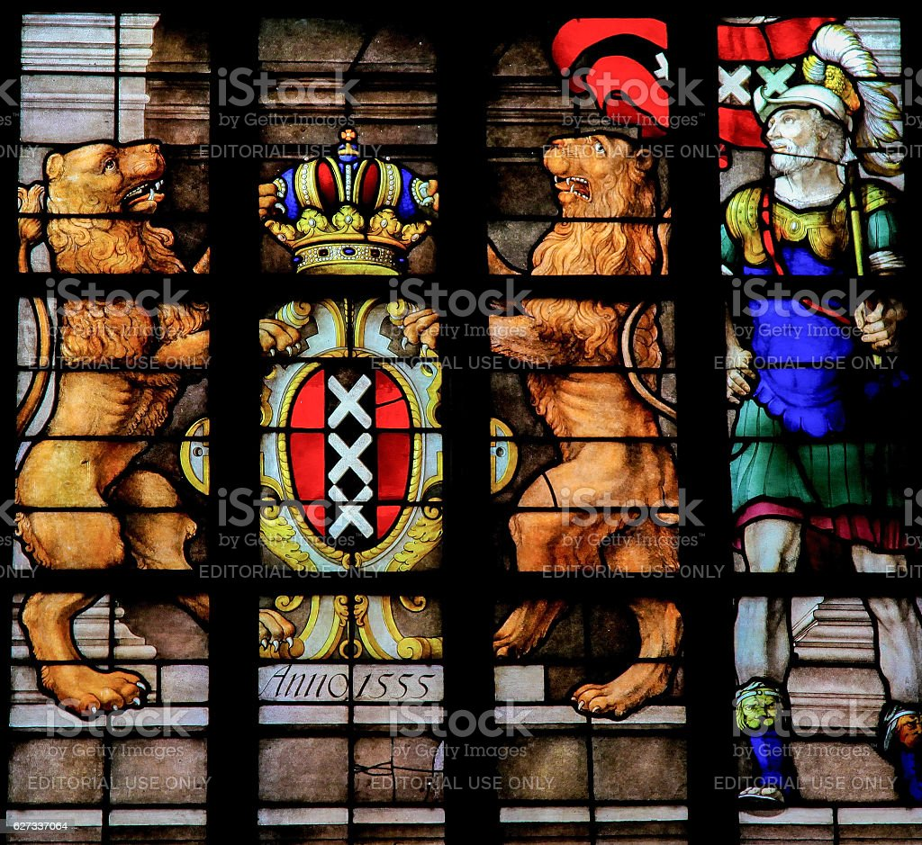 Coat of Arms of Amsterdam - Stained Glass stock photo