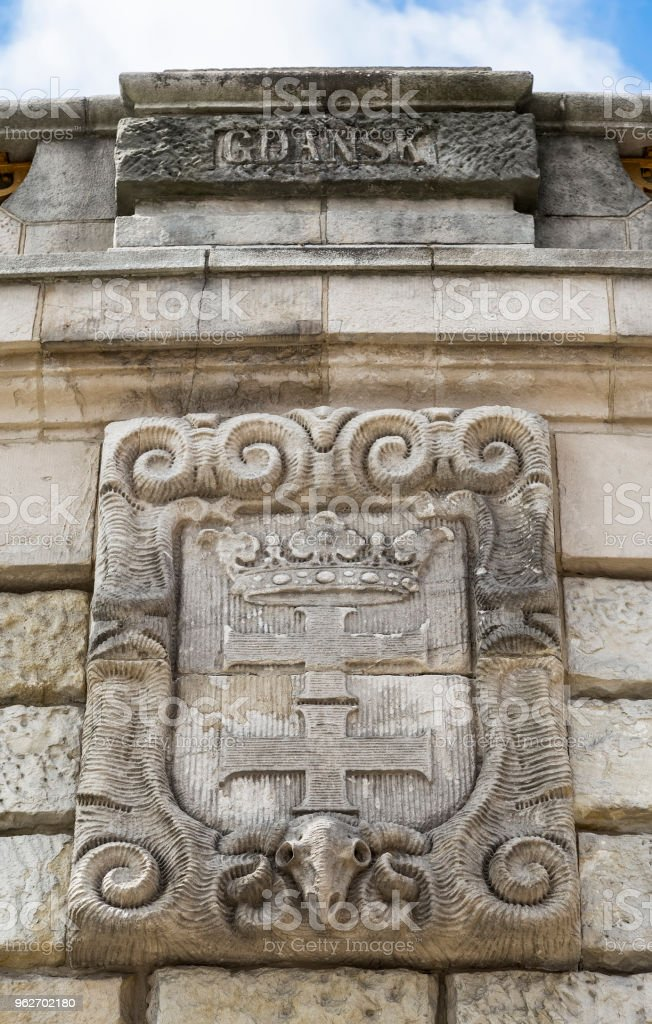 Coat of arms of Gdansk stock photo