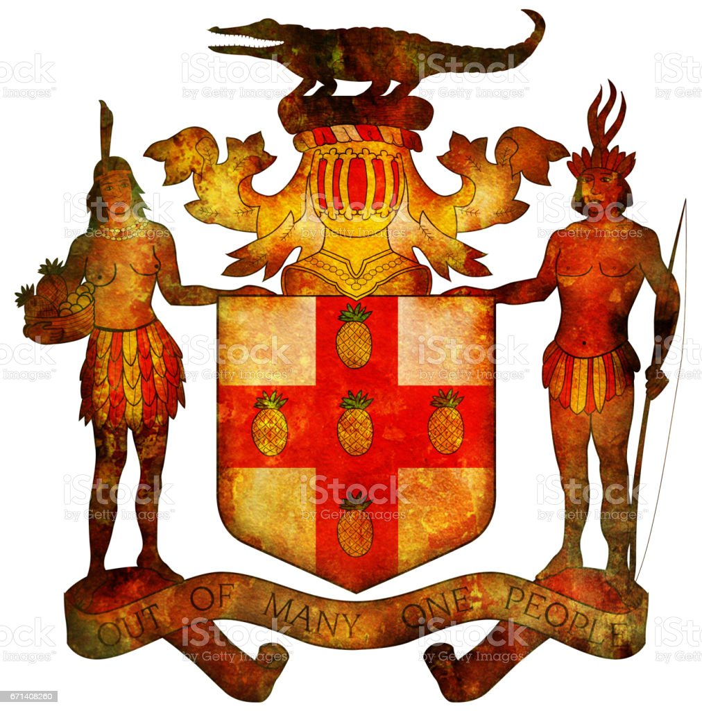 coat of arms of jamaica stock photo