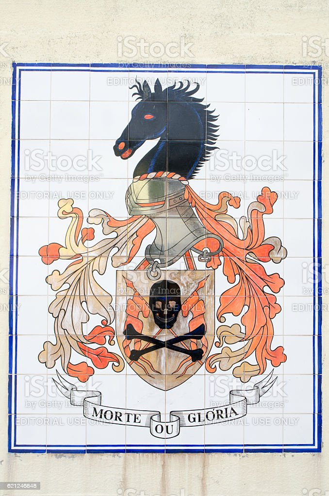 Coat of arms of Lisbon Army Regiment in Belem stock photo